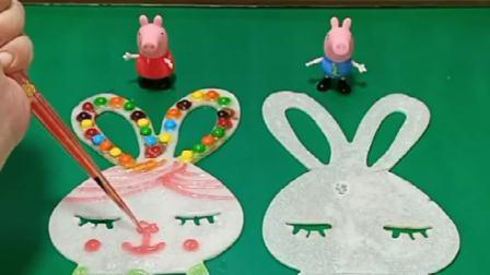 佩奇装饰兔子布丁,乔治却在搞破坏,这下猪妈妈可是要惩罚乔治了