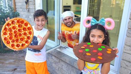 萌宝玩具故事:真皮!小正太跟小萝莉的披萨是如何制作出来的?