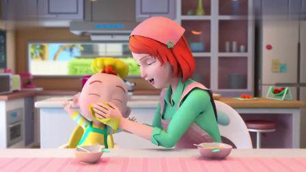 超级宝贝JOJO:宝宝吃光了苹果布丁,妈妈夸赞宝宝,宝宝真棒