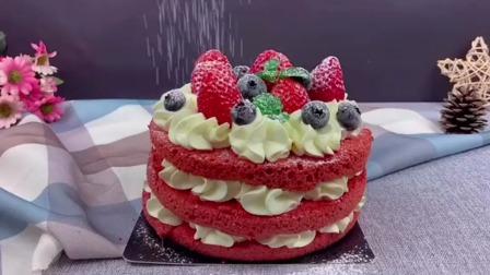 红丝绒裸蛋糕,简单又漂亮。许个愿吧,万一真的实现了呢。#蛋糕