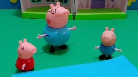 小鬼爸爸给他买了变形汽车,猪爸爸不想给乔治买,佩奇给乔治拿来汽车图片