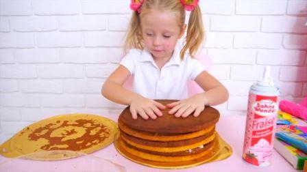 国外儿童时尚,小女孩正在做蛋糕,快来看看吧