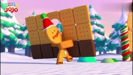 超级宝贝JOJO:宝贝和姐姐哥哥一起拼姜饼屋,大家一起好开心