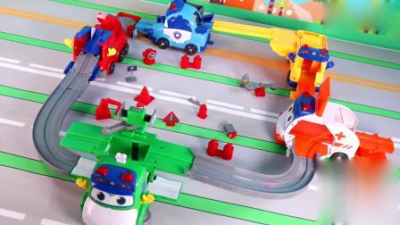 玩具益趣园:百变校巴场景赛道玩具 歌德变形轨道 五合体成为完整赛道