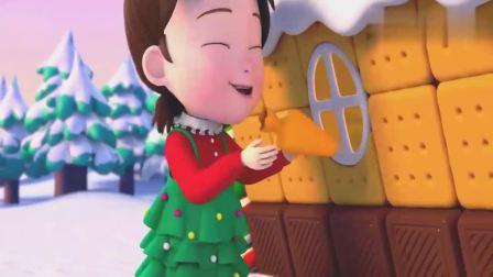 超级宝贝JOJO:宝宝好开心呀,拿起糖霜挤在屋子上,姜饼屋变更好看啦