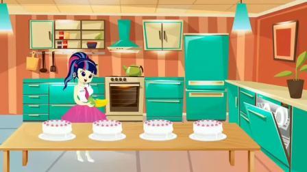 大家拿着不同水果,做蛋糕?紫悦和艾达琪谁做的更好?小马国女孩游戏