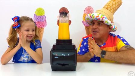 萌娃小可爱和爸爸自制芒果味冰激凌,味道怎么样呢?小萝莉会喜欢吗