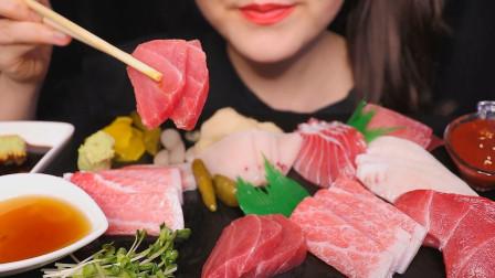 """""""第一等级金枪鱼腹肉生鱼片刺身"""",听不一样的咀嚼音"""