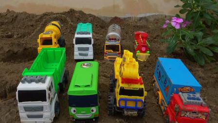 亮亮玩具认识汽车工程车和学习英语,婴幼儿宝宝早教益智游戏视频