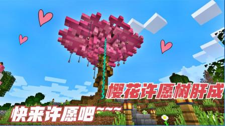 MC生存日记第二季89:樱花许愿树做成啦!要不要来许个愿呀?