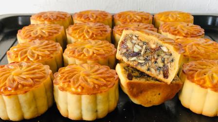 中秋节快到了,五仁月饼最详细的做法,无添加剂,薄皮大馅不腻口