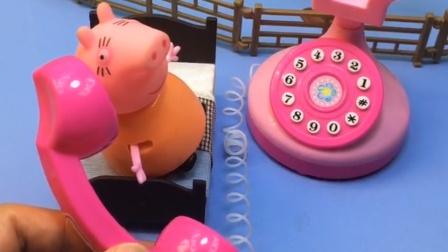 猪妈妈正在睡觉呢,家里面的电话响了,原来是乔治给她打电话!