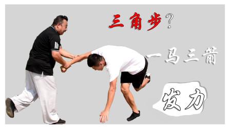 一马三箭!庞恒国老师展示内家拳三角步,明白人一看就懂