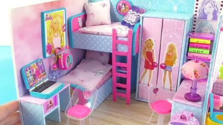国外儿童时尚,DIY制止迷你芭比娃娃屋,上下床,衣柜,桌椅
