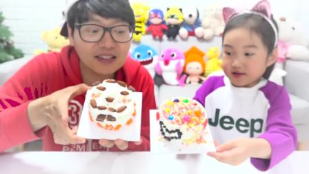 国外儿童时尚,宝宝和爸爸制作糖果蛋糕