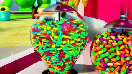 宝宝巴士:乐乐想要香草冰淇淋,于是机器人一下做好,撒上星星糖