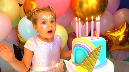 国外儿童时尚,小女孩看到彩虹蛋糕,惊讶的张大了嘴巴