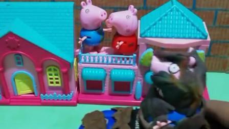 猪爸爸回来佩奇乔治都认不出猪爸爸了原来猪爸爸去玩跳泥坑弄得满身泥巴呀