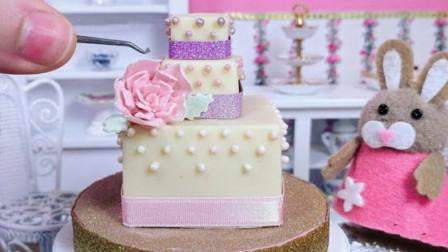 食玩,小小厨房烹饪方形巧克力蛋糕,粉色装饰花朵漂亮不?