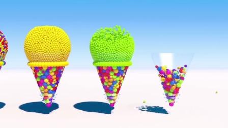 宝宝看小糖球做蛋筒冰淇淋,学颜色英语,好看易学