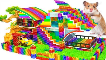 趣味手工DIY,用磁力球为仓鼠建造带有花园的现代化大型别墅