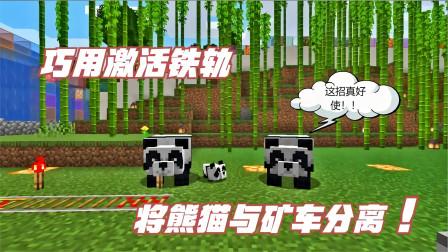 MC生存日记第二季96:巧用激活铁轨,将熊猫与矿车分离