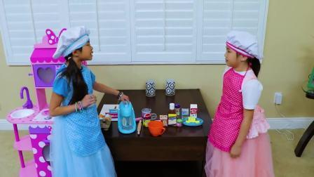 美国儿童时尚,小女孩的生日宴会,自己在家做蛋糕