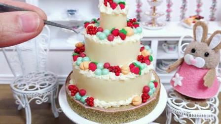 食玩,真实烹饪迷你可食巧克力糖水果蛋糕,小小厨房的高颜值美食