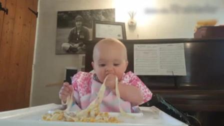 才8个月的小宝宝就自行断奶了,吃面条如同开挂一样,吃相太萌了