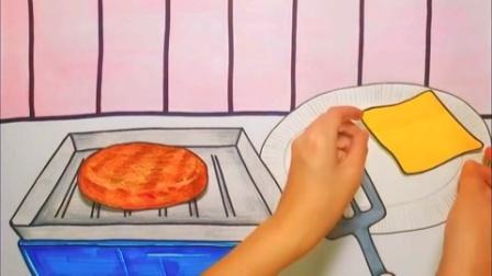定格动画:今日午餐,西红柿芝士牛排汉堡加薯条!