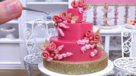 食玩,真实烹饪迷你巧克力玫瑰蛋糕,是不是很漂亮?