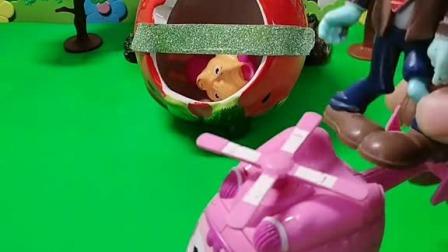 小猪佩奇玩具:佩奇和乔治都送了大头儿子一颗糖