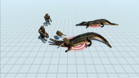 远古人类,大战两只巨型鳄鱼。胜负就在一瞬间