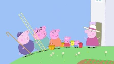 小猪佩奇猪妈妈说自己还是小女孩,爬那么高,结果摔下来了