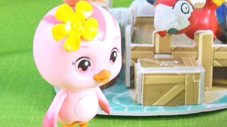 美佳妈妈向朵朵展示她驯养的鹦鹉