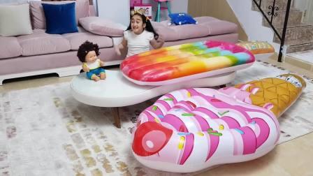 国外儿童时尚,宝宝有小西瓜冰淇淋,还有大西瓜大冰淇淋