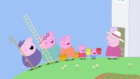 小猪佩奇佩奇乔治真是厉害,大家摇下来的苹果,他们都接住了(1)