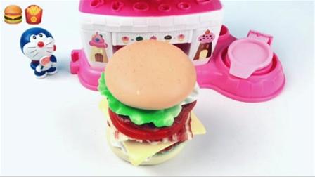 机器猫多拉爱梦玩小家电烤箱做美味芝士牛排汉堡大餐