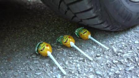 减压实验:牛人把开心果、果汁、玩具放在车轮下,好减压,勿模仿