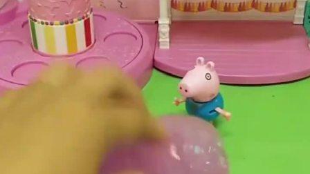 乔治买了个起泡胶可他不知道怎么玩佩奇看到了来给乔治演示