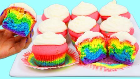 制作漂亮的彩虹纸杯蛋糕