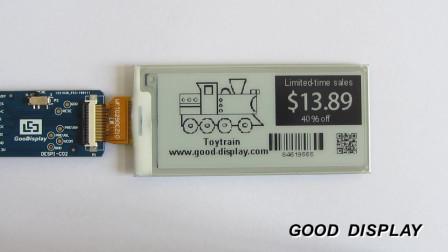 2.9寸黑白双色电子墨水屏支持四灰阶刷新演示 GDEW029T5