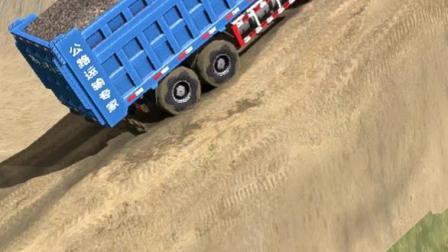 货车超载冲上坡