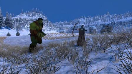 史诗战争模拟器:女弓箭手一脚被绿巨人秒杀,拉远距离之后能反扑吗