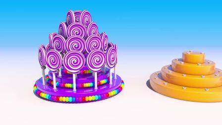 七彩棒棒糖小蛋糕,不同颜色不同单词,black,blue,yellow宝贝学起