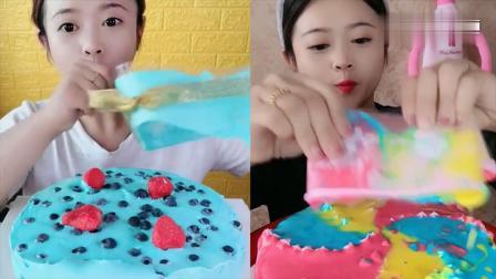 小姐姐试吃爆浆蛋糕,一口超过瘾,是幸福的味道