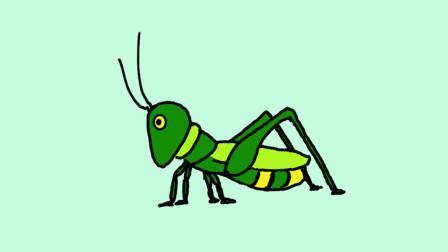 简单易学的蚱蜢简笔画 - 一步一步教你画蚂蚱