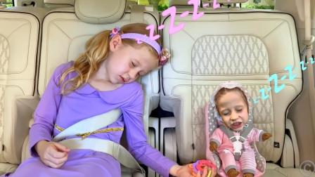 小萝莉的婴儿娃娃被大鸟衔走了,萌娃小可爱:爸爸,你真是太坏了