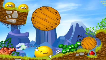 融合小果冻:绿色小球一起上,才能拉动圆形木板!