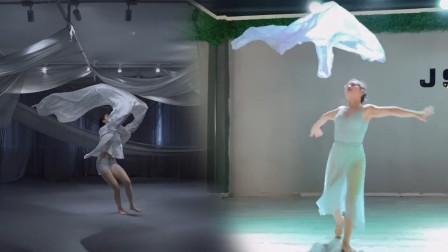 两个很有意境的舞蹈《海底》,同是采用纱巾作为道具,韵味不一样